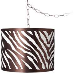 "Metallic Zebra 13 1/2"" Wide Brushed Steel Swag Chandelier"