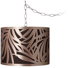 "Laser-Cut Shade 13 1/2"" Wide Brushed Steel Swag Chandelier"