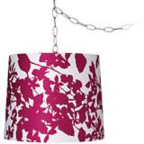 "Plum Floral Silhouette 13 1/2"" Brushed Steel Swag Chandelier"
