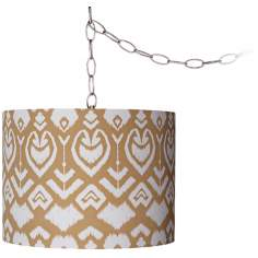 "Tan Ikat 12"" Wide Brushed Steel Swag Chandelier"
