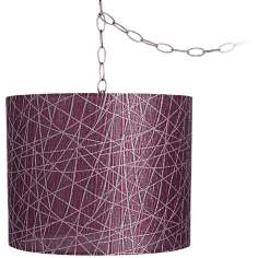 "Purple Lines 14"" Wide Brushed Steel Swag Chandelier"