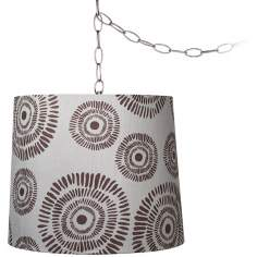"Circle Design 13 1/2"" Wide Brushed Steel Swag Chandelier"