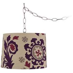"Purple Moroccan 14"" Wide Brushed Steel Swag Chandelier"