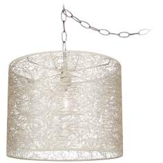 "Transparent Lace 14"" Wide Brushed Steel Swag Chandelier"