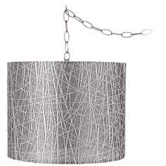 "Silver Lines 14"" Wide Brushed Steel Swag Chandelier"