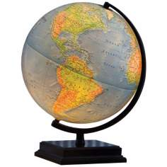 "Cambria Blue Ocean 16"" High Illuminated World Globe"