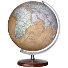 "Montour Brown Ocean 15"" High World Globe"