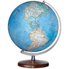 "Somerset Blue Ocean 15"" High World Globe"