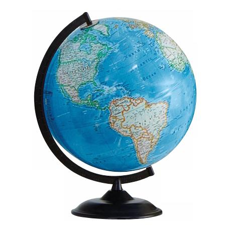 "Clearfield Black Base 16"" High Blue Ocean World Globe"