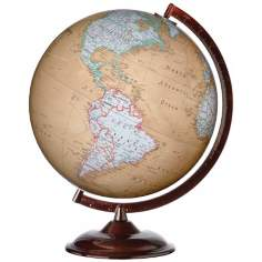 "Cumberland Brown Base 16"" High Brown Ocean World Globe"