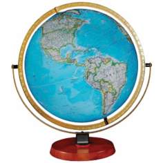 "Byrd Blue Ocean 22"" High Illuminated Globe"