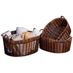 Set of 3 Oval Handle Nested Baskets