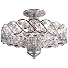 "Catara 18"" Wide Silver Leaf and Crystal Ceiling Light"