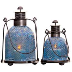Set of 2 Blue Mosaic Glass Candle Lanterns