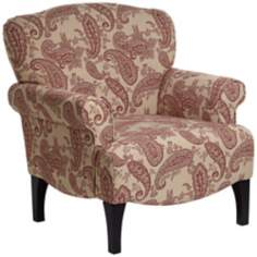 Astrid Upholstered Red Paisley Chair