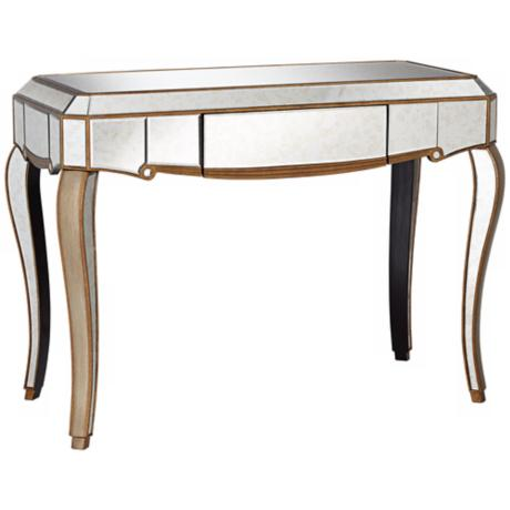 Vanessa Antique Gold Mirrored Console Table