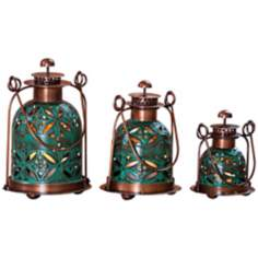 Set of 3 Pierced Floral Copper and Teal Candle Lanterns