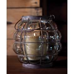 Blown Glass and Metal Candle Lantern