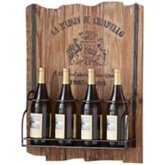 Vintage Hanging Recycled Wood 4-Bottle Wine Rack