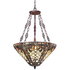 "Olive 3-Light 25"" High Tiffany Style Art Glass Pendant Light"