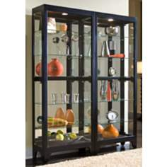 Black Onyx Lighted Wall Curio Cabinet