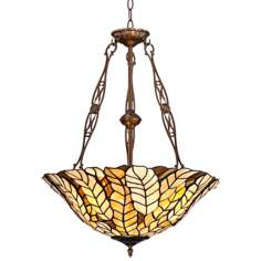 "Tiffany Style Amber Leaf 20"" Wide Art Glass Pendant Light"