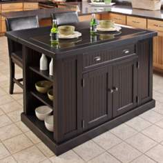 Nantucket Black Kitchen Island with 2 Bar Stools