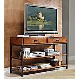 Modern Craftsman Distressed Oak Wood TV Stand