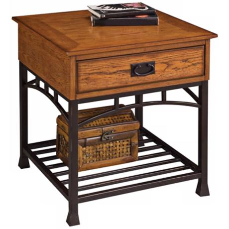 Modern Craftsman Distressed Oak Wood End Table