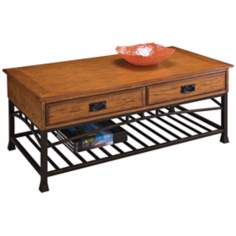 Modern Craftsman Distressed Oak Wood Coffee Table