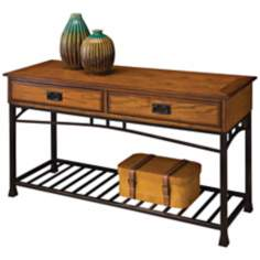 Modern Craftsman Distressed Oak Wood Sofa Table