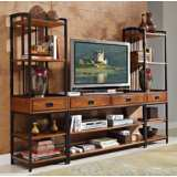 Modern Craftsman Oak 3-Piece Wood Entertainment Center