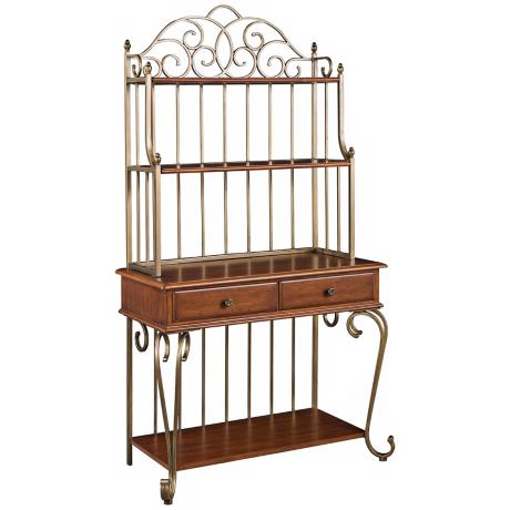 St. Ives Cinnamon Cherry Wood Baker's Rack