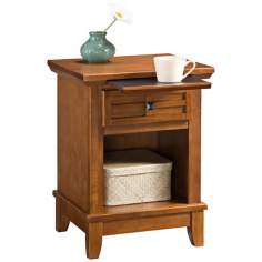 Arts and Craft Oak Lattice Pull-Out Tray Night Stand