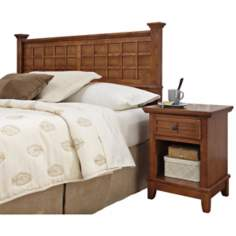 Arts and Crafts Oak Queen Headboard and Night Stand Set