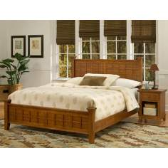 Arts and Crafts Cottage Oak Queen Bed and Night Stand Set