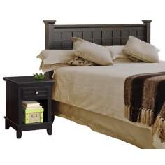 Arts and Crafts Black Queen Headboard and Night Stand Set