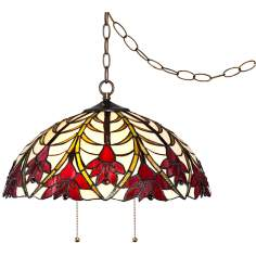 "Tifffany Style Ruby Flora 19"" Wide Swag Pendant Light"