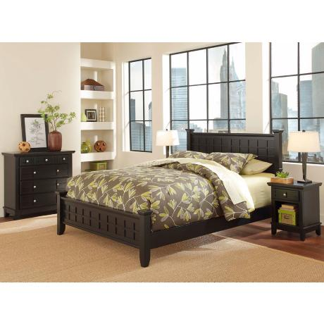 Arts and Crafts Black Queen Bed Night Stand Chest Set