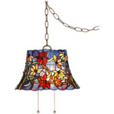 "Tiffany Style Blue Floral 14"" W Art Glass Swag Pendant Light"