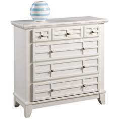 Arts and Crafts White Lattice 4-Drawer Chest
