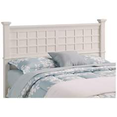 Arts and Crafts White Lattice Queen Headboard