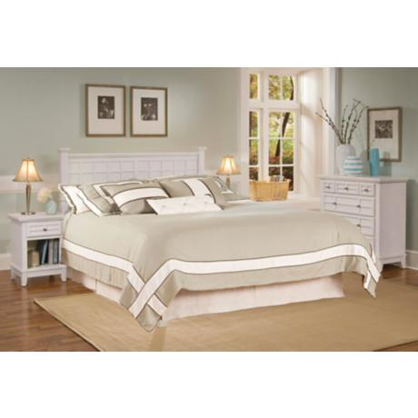 Arts and Crafts White Queen Headboard Night Stand Chest Set