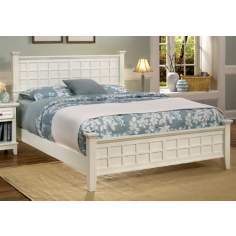 Arts and Crafts White Queen Bed and Night Stand Set
