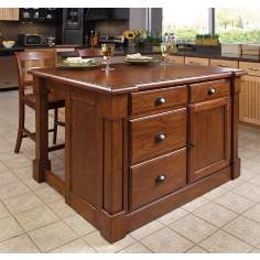 Aspen Cherry Wood Kitchen Island Set with 2 Bar Stools