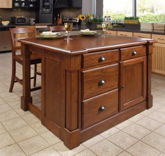 Aspen Cherry Wood Kitchen Island Set with 2 Bar Stools (W3280)
