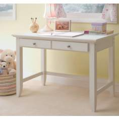 Naples 2-Drawer White Wood Student Desk