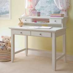 Naples White Wood Student Desk and Hutch