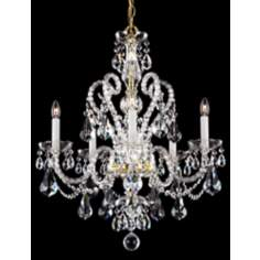 "Schonbek Gold Novielle 22"" Wide Elements Crystal Chandelier"
