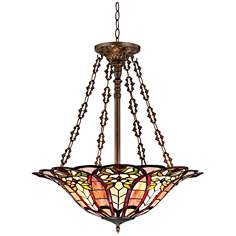 "Floral Art Glass 24 1/2"" Wide Tiffany Style Pendant Light"